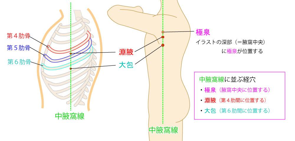 中腋窩線,極泉・淵腋・大包